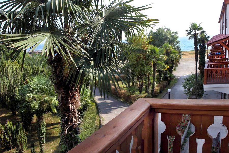 Вид с балкона номера в Приморском корпусе отеля Абаата