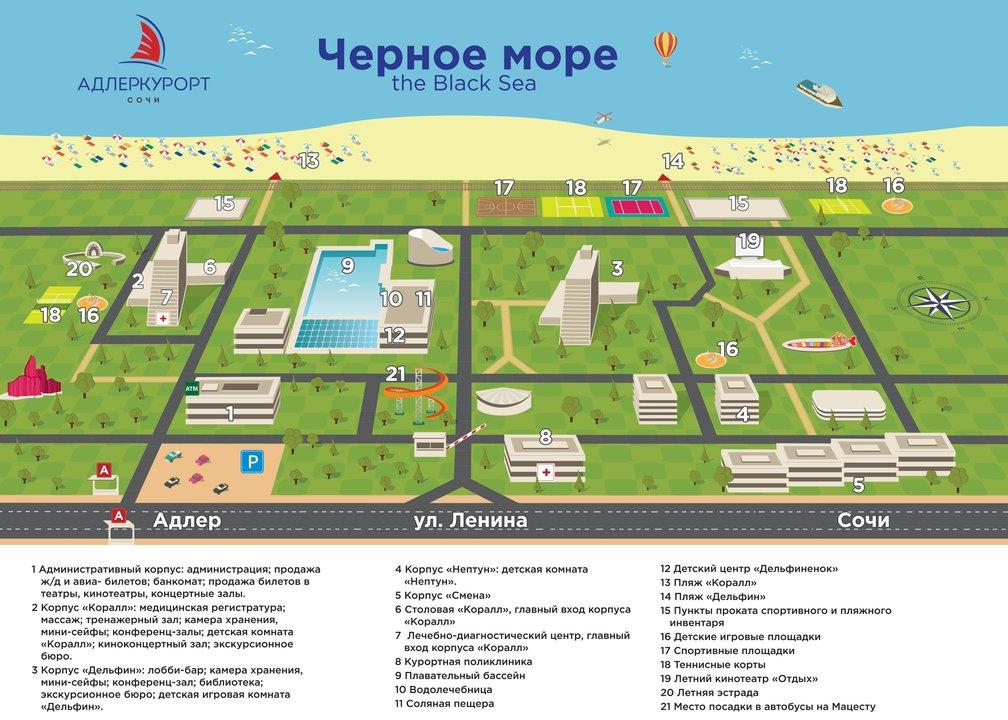 Схема территории СКО Адлеркурорт