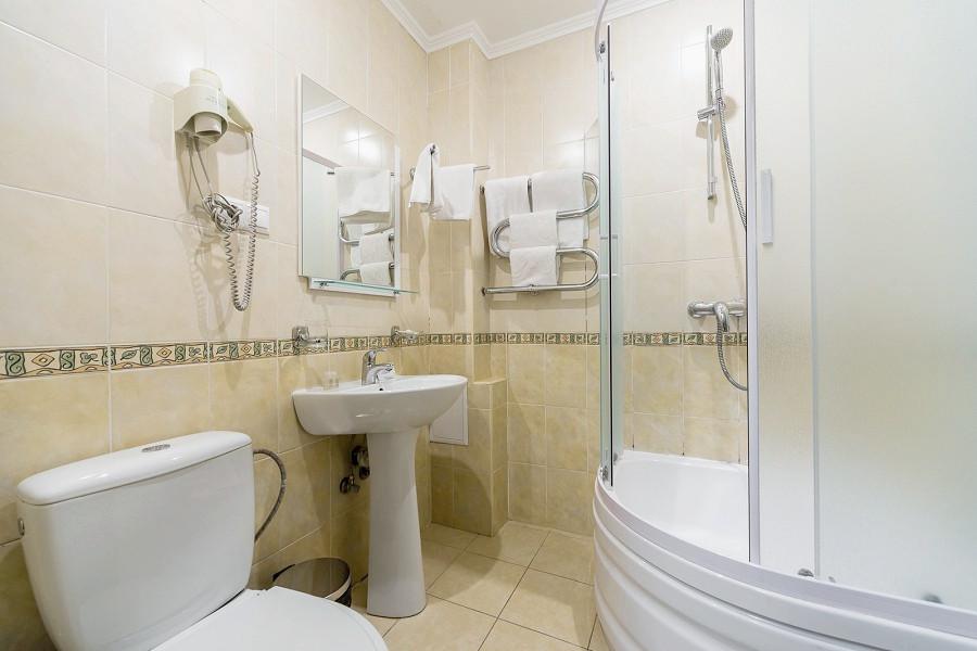 Туалетная комната номера Стандарт с террасой в санатории Айвазовское