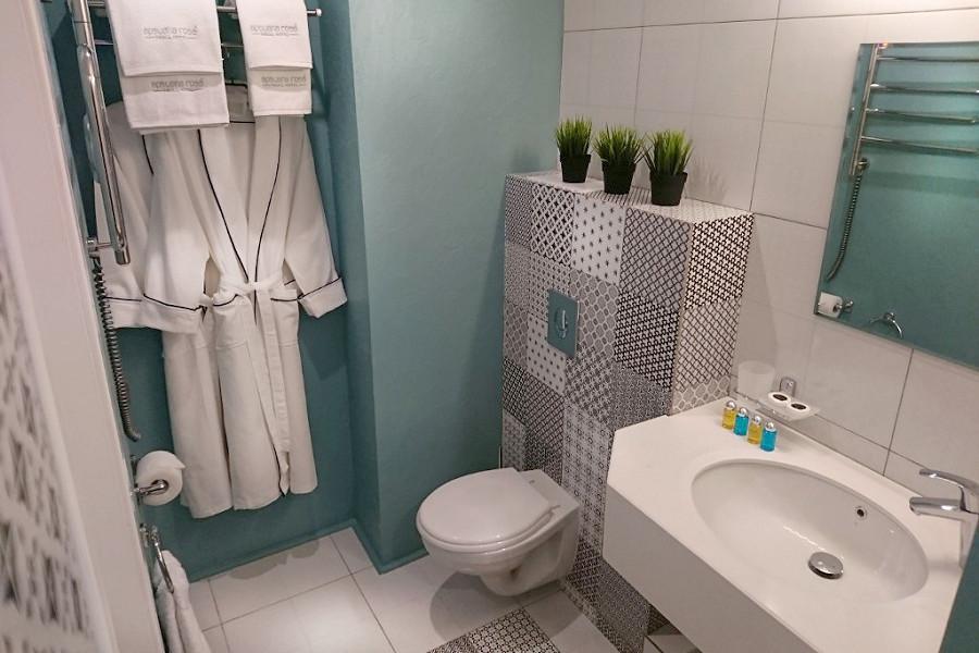 Туалетная комната Стандартного номера отеля Apsuana Rose, Гагра, Абхазия