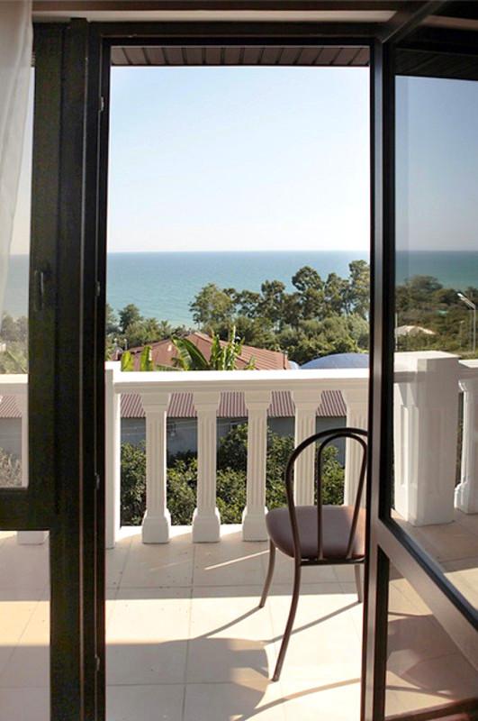 Дверь из номера на балкон гостевого дома Белый, Псырдзха, Новый Афон, Абхазия