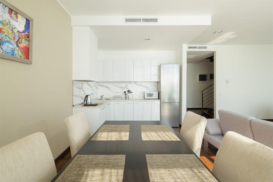Кухня четырехместного двухуровневого апартамента апарт-теля Бревис
