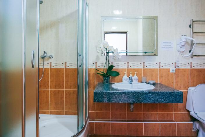Туалетная комната Стандартного Улучшенного номера в парк-отеле Демерджи