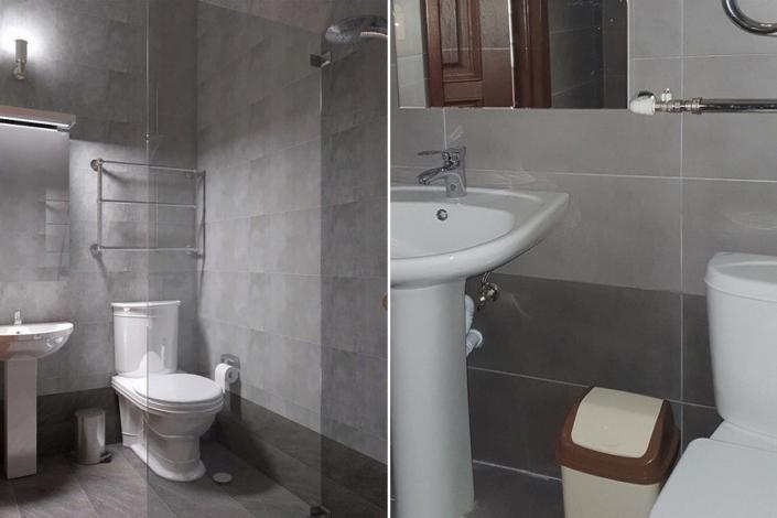 Туалетная комната номера Стандарт отеля Европа, Гагра, Абхазия