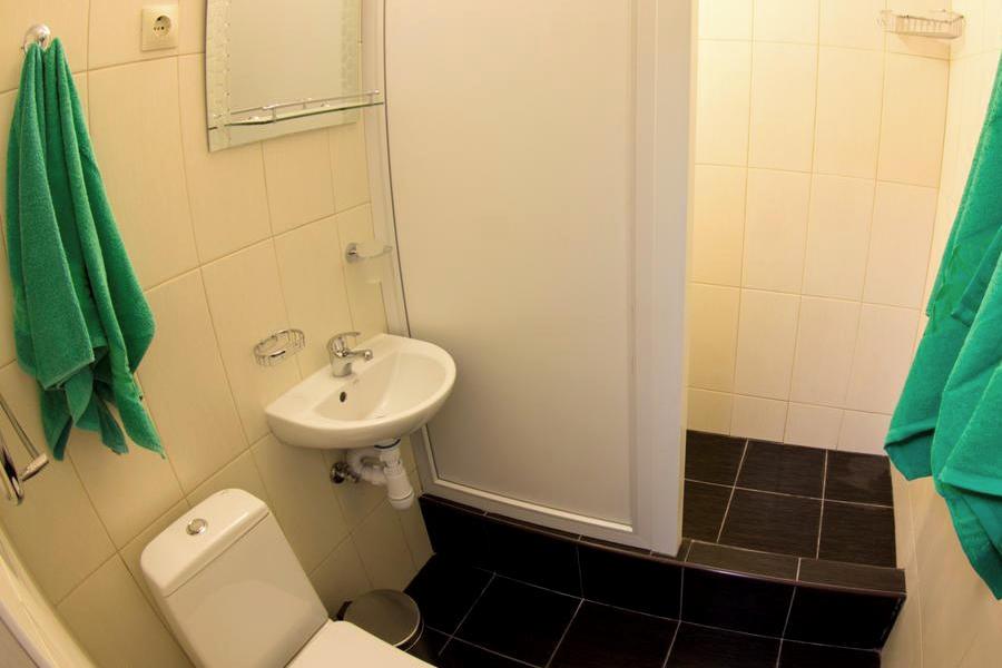 Туалетная комната Стандартного одноместного номера в Корпусе № 5 санатория Горный