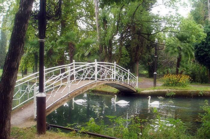 Парк напротив отеля Лебедь в Новом Афоне