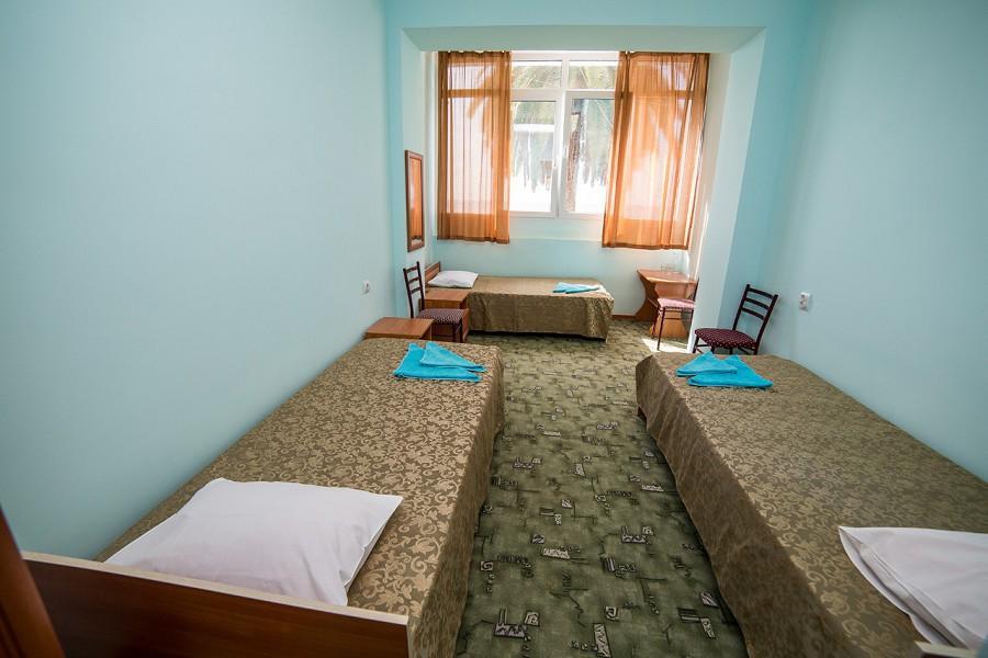 Трехместный номер с частичными удобствами в пансионате Кавказ, Гагра, Абхазия