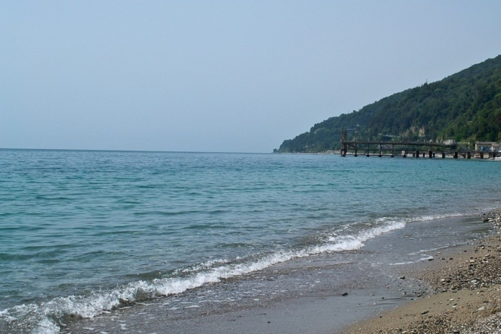Пляж пансионата Кавказ, Гагра, Абхазия