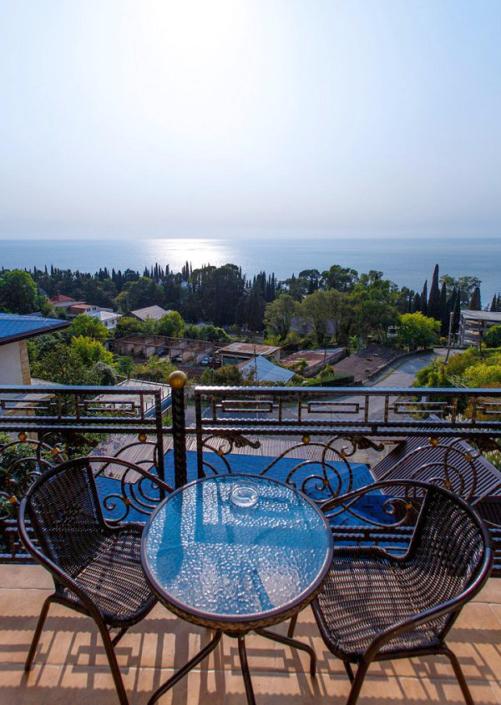 Вид на море с террасы отеля Korshikoff