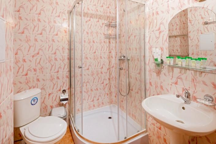 Туалетная комната номера Стандарт парк-отеля Лазурный берег