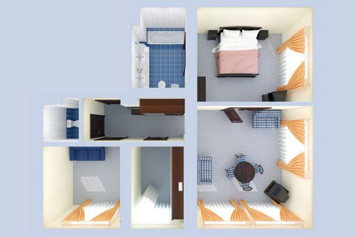 План Апартаментов двухместных трехкомнатных в корпусе Салют санатория Мыс Видный