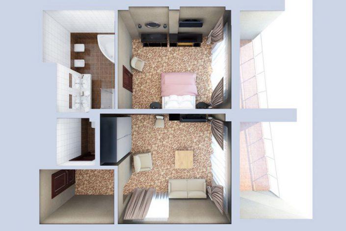 План номера Люкс двухместный двухкомнатный в корпусе Олимп санатория Мыс Видный