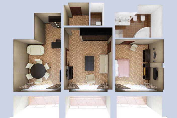 План номера Люкс двухместный трехкомнатный в корпусе Олимп санатория Мыс Видный