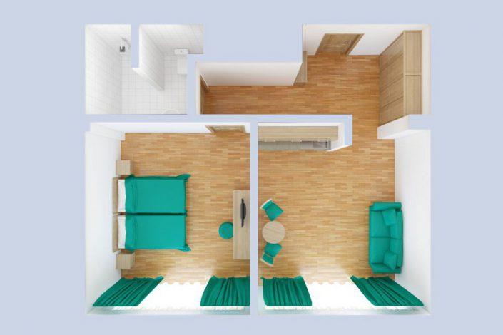 План номера Комфорт двухместный двухкомнатный в корпусе Арена санатория Мыс Видный
