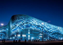 Олимпийский парк Сочи вечером