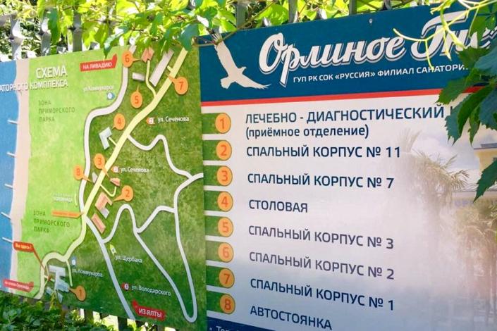 Схема расположения корпусов санатория Орлиное гнездо в Ялте
