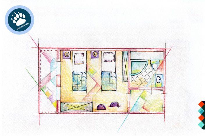 Планировка двухместного номера отеля Приют Панды