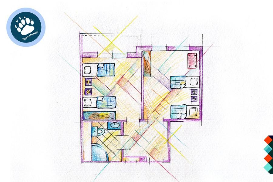 Планировка блока из 2-х номеров Эконом отеля Приют Панды