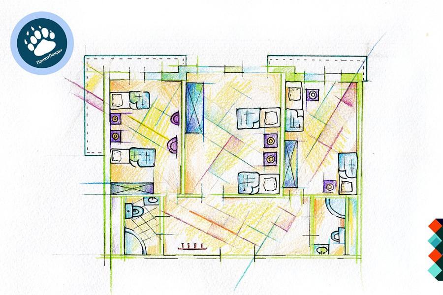 Планировка блока из 3-х номеров Эконом отеля Приют Панды