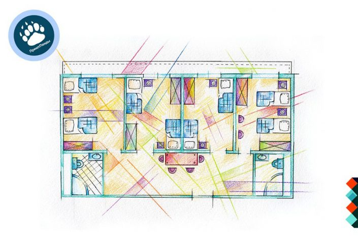 Планировка блока из 4-х номеров Эконом отеля Приют Панды