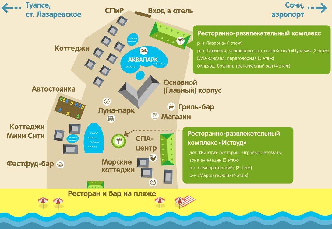 Схема территории отеля Прометей клуб