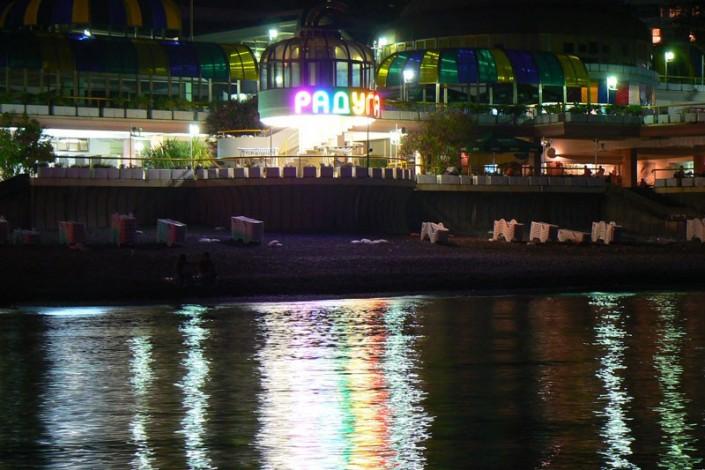 Пляж санатория Радуга поздним вечером