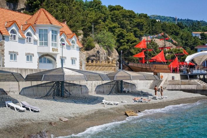 Вилла Аврора и пляж санатория Сосновая роща