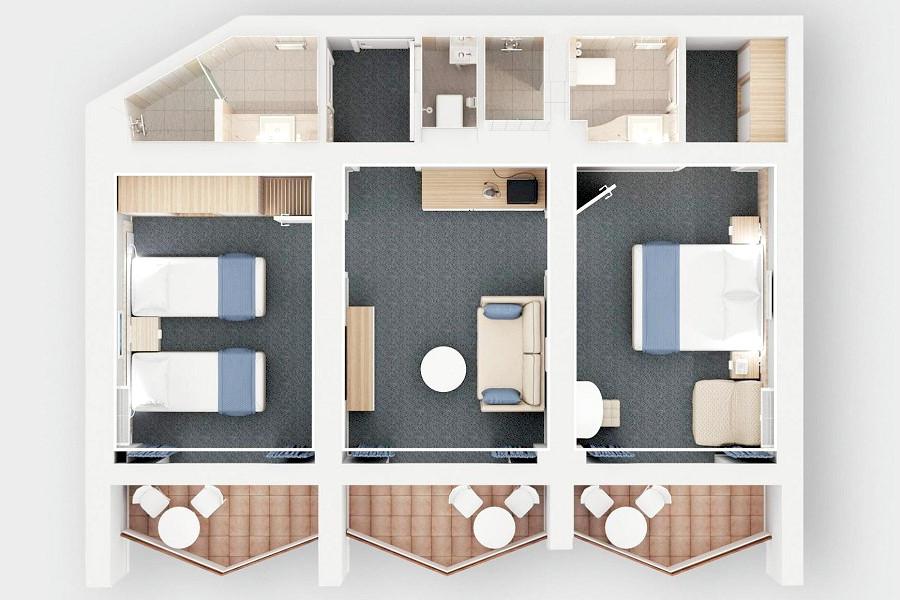 Схема номера Сюит Семейный трехкомнатный в отеле Спутник