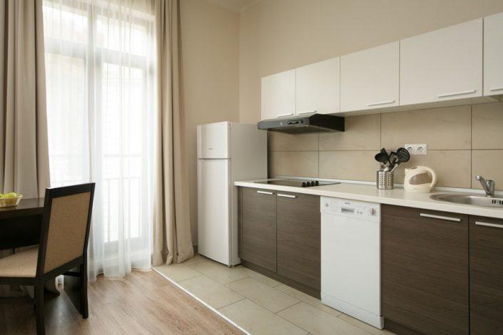 Кухня однокомнатных апартаментов Valset Apartments by Azimut