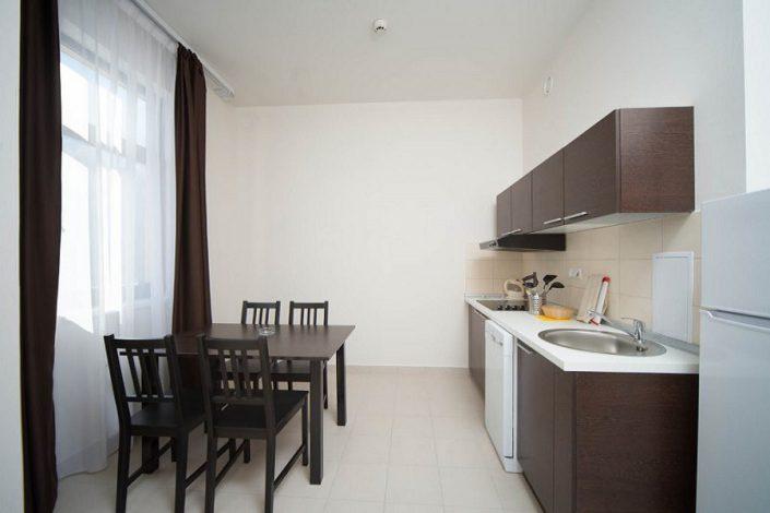 Кухня однокомнатных апартаментов с отдельной кухней Valset Apartments by Azimut
