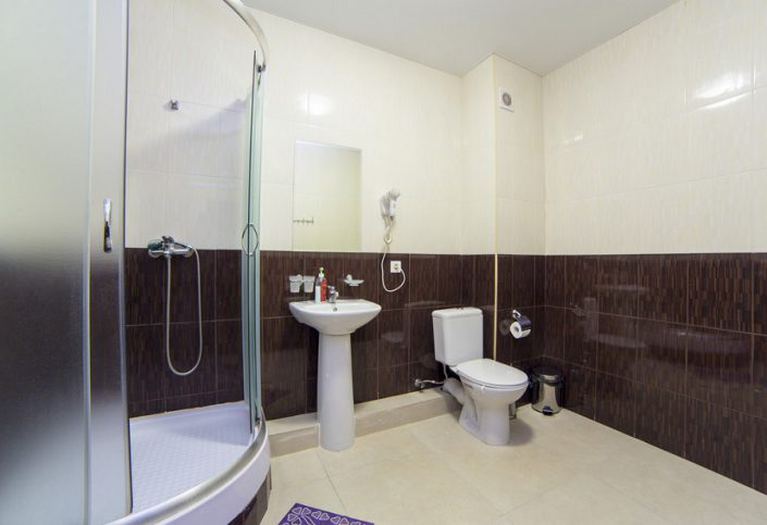 Туалетная комната номера Популюкс спортивно-гостиничного комплекса Жемчужина